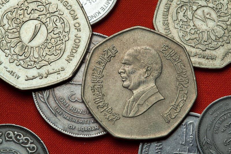 Münzen von Jordanien Bin Talal Königs Hussein stockbilder