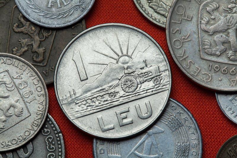Münzen von kommunistischem Rumänien lizenzfreies stockfoto