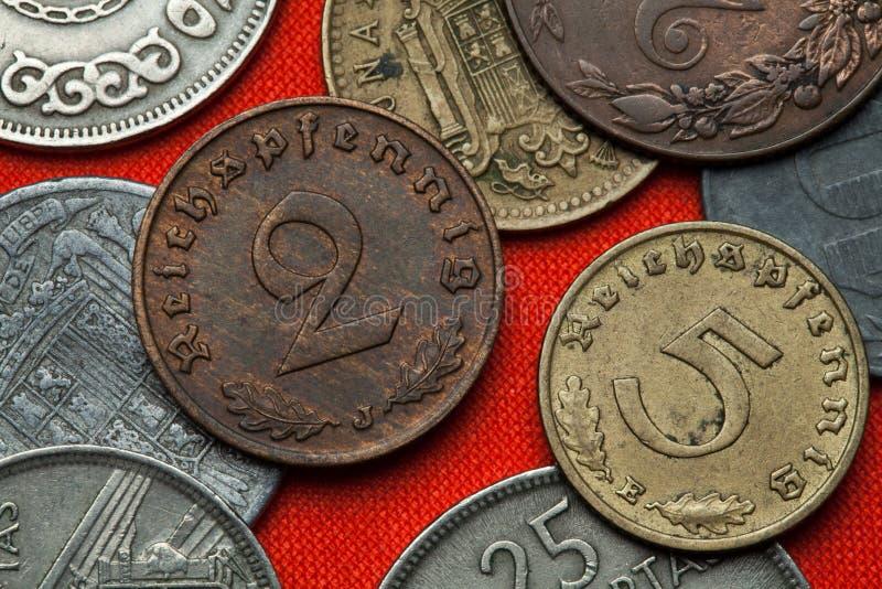 Münzen von Nazi Germany stockbilder