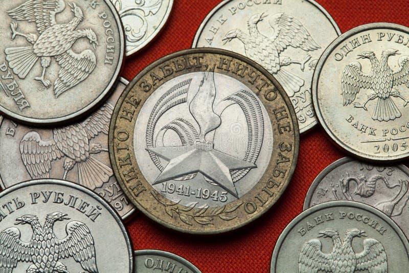Münzen von Russland Zweiter Weltkrieg stockbilder