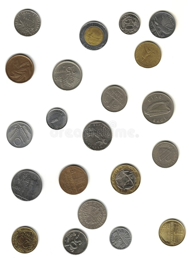 Münzen vor Euro stockfoto