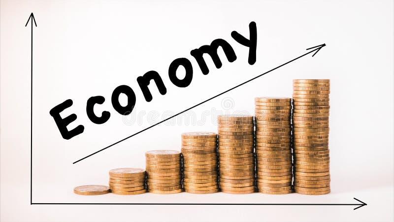 Münzendiagramm gegen Bild zeigt Wirtschaftsverbesserung stockfotografie