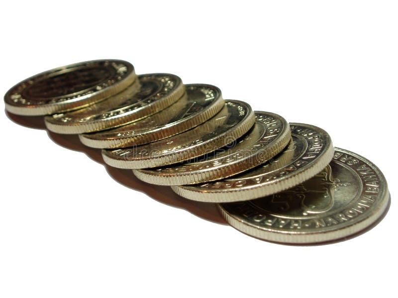 Münzenzeile stockfoto