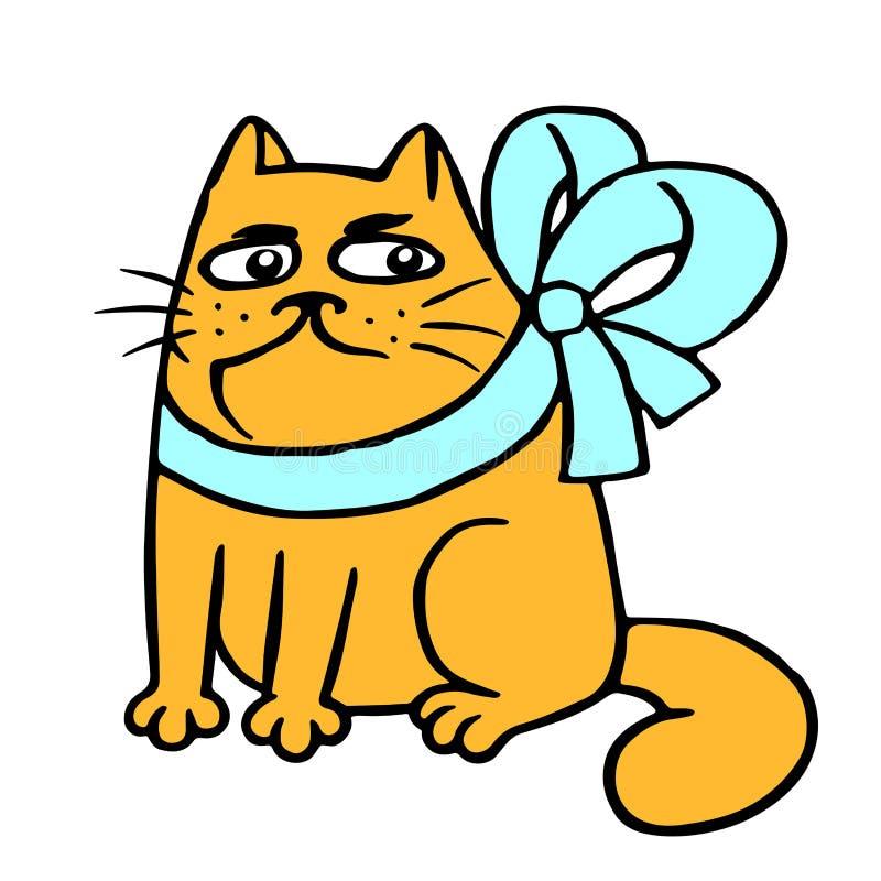 Mürrische Katze mit einem Bogensitzen Auch im corel abgehobenen Betrag lizenzfreie abbildung