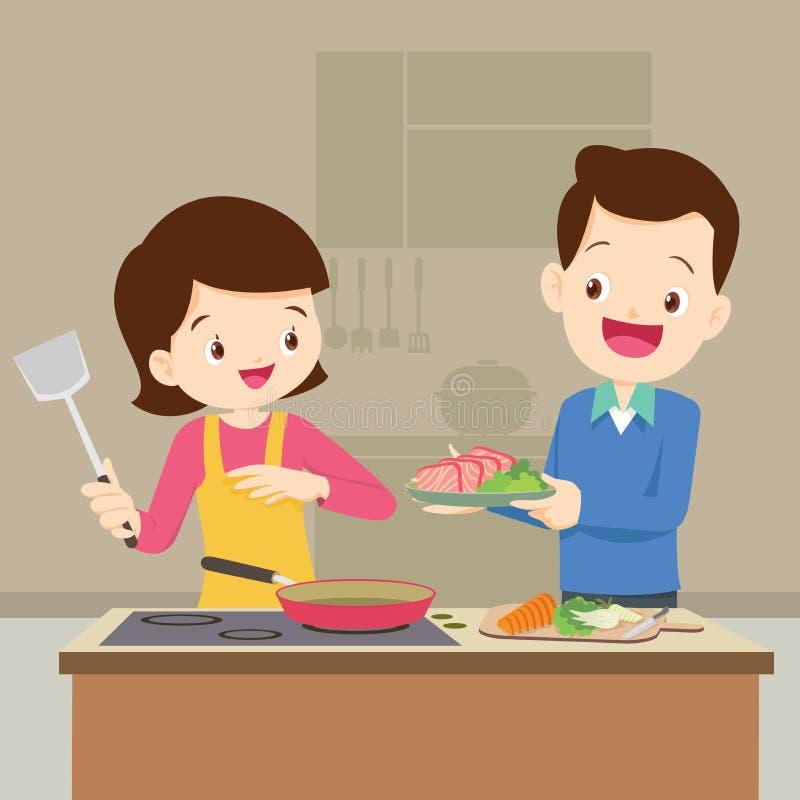 Mąż i żona przygotowywamy wpólnie ilustracji