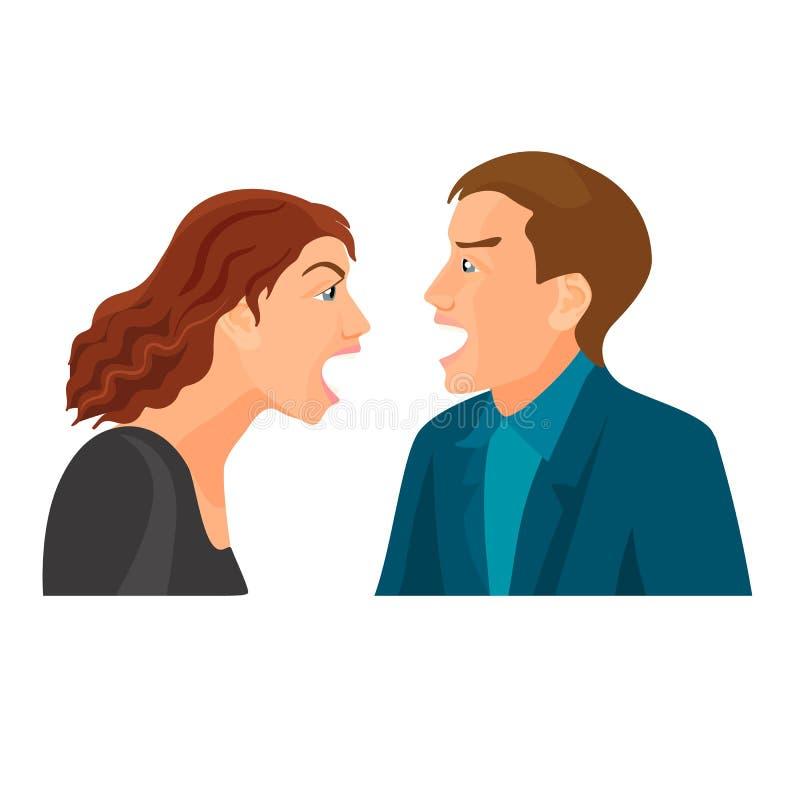 Mąż i żona walkę i wrzask przy each inny royalty ilustracja