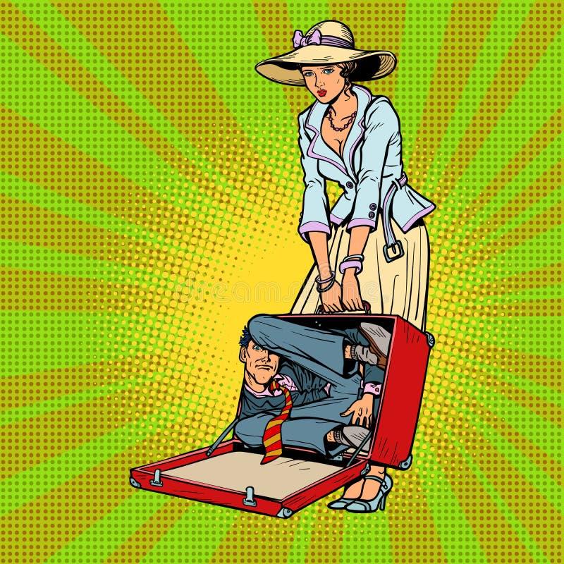 Mąż w walizce podróżnik kobieta ilustracji