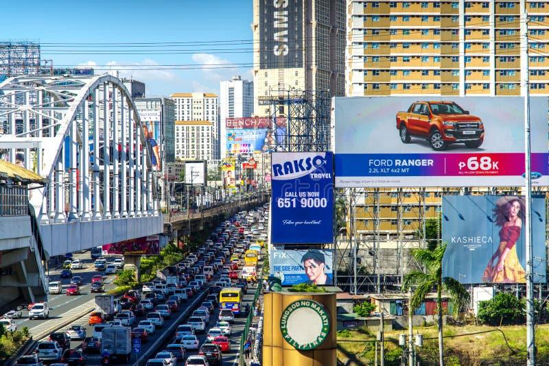 Mąci 9,2018 godzin szczytu przy Epifanio De Los Santos avenueEDSA w Manila obrazy stock