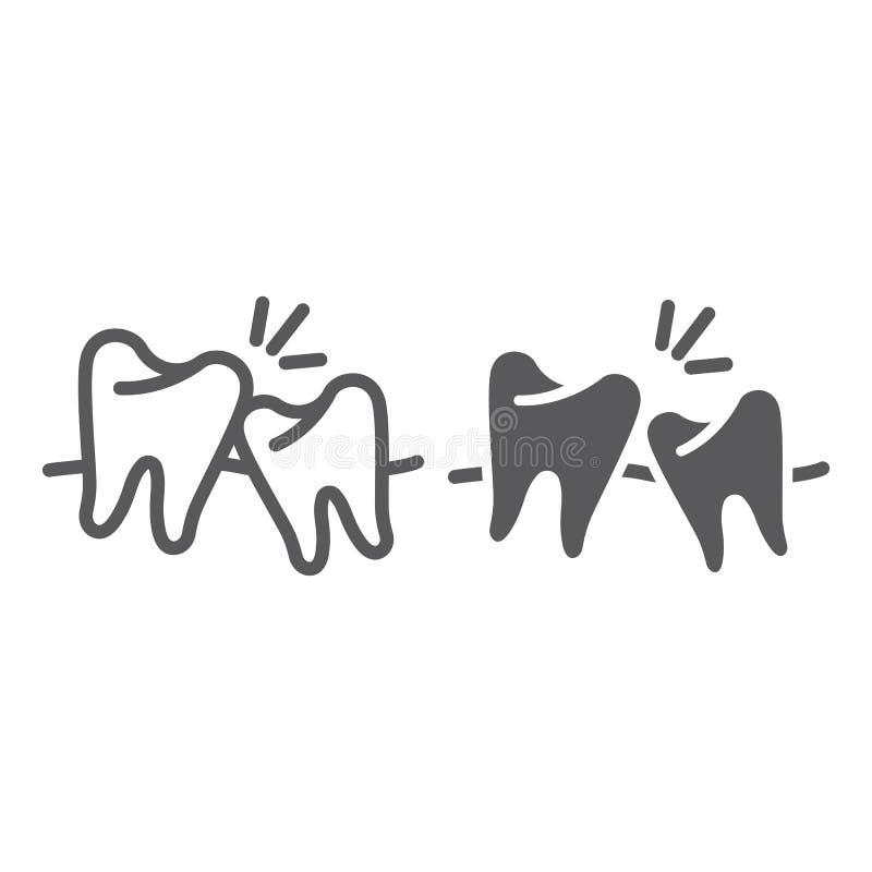 M?dro?? z?b?w linia, glif ikona, dentystyka i z?by, stomatologiczni, niezdrowi, podpisujemy, wektorowe grafika, bry?a wz?r na a ilustracji