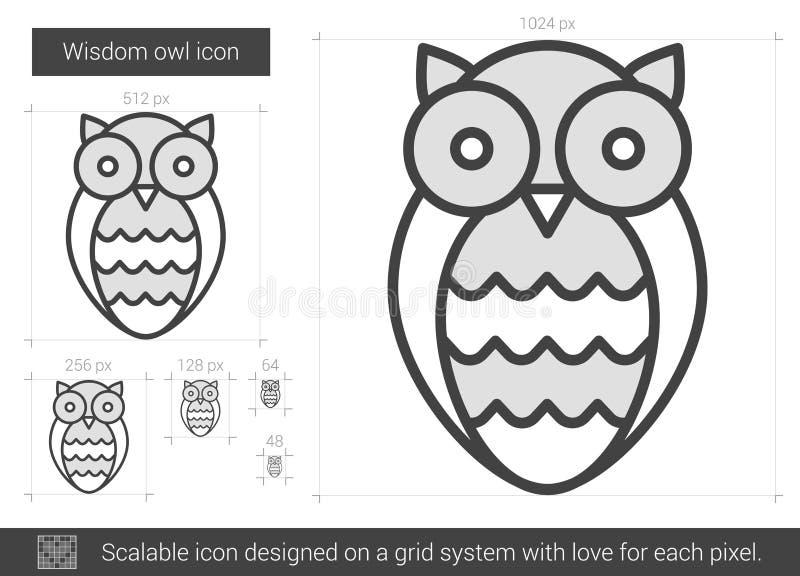 Mądrości sowy linii ikona royalty ilustracja