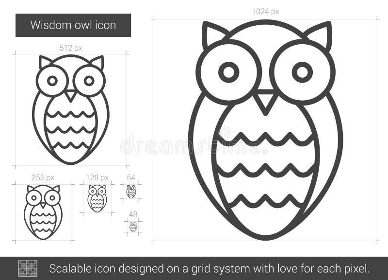 Mądrości sowy linii ikona ilustracja wektor