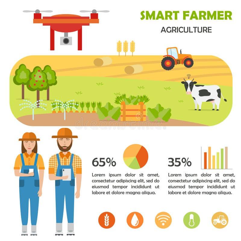 Mądrze średniorolny infographics Rolna dane analiza, zarządzanie i ilustracja wektor