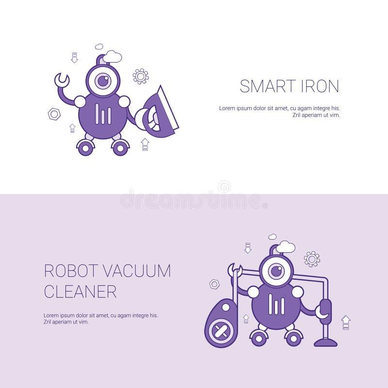 Mądrze żelaza I Próżniowego Cleaner robota pojęcia szablonu sieci sztandar Z kopii przestrzenią ilustracji