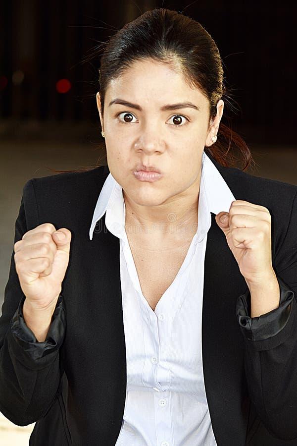 Mądrze Biznesowa kobieta I złość Jest ubranym kostium obrazy royalty free