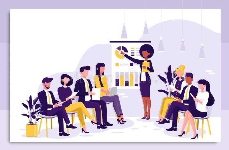 Mądrze bizneswoman daje prezentacji koledzy w wskazuje mapy podczas domowego biznesowego szkolenia i ilustracji