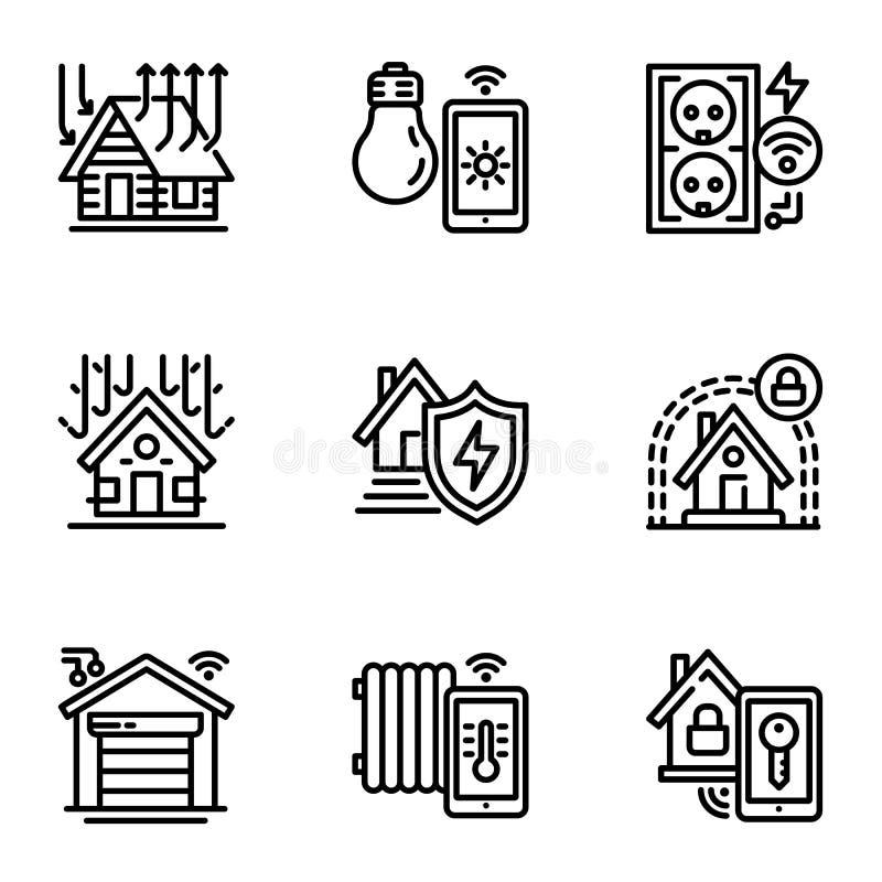 Mądrze budynek ikony set, konturu styl ilustracji