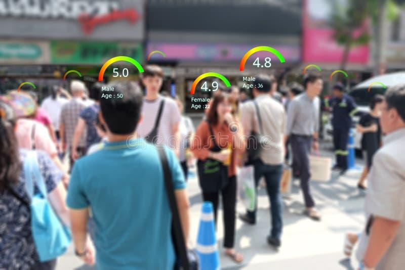 Mądrze CCTV kamery utożsamiają Ogólnospołecznego kredytowego wynika pojęcie, AI analityka utożsamiają osoby technologię, oszacowy obraz royalty free
