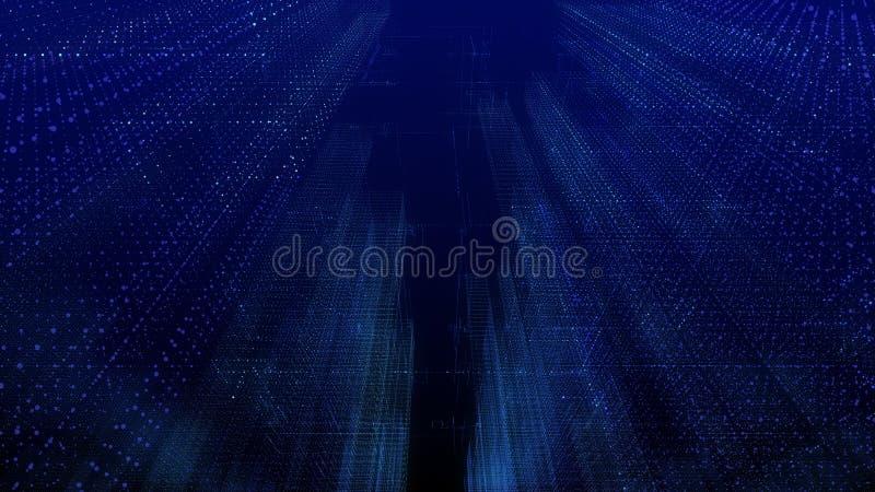 Mądrze cyfrowy miasta wireframe drapacz chmur w futurystycznym lub pejzaż miejski ilustracja wektor
