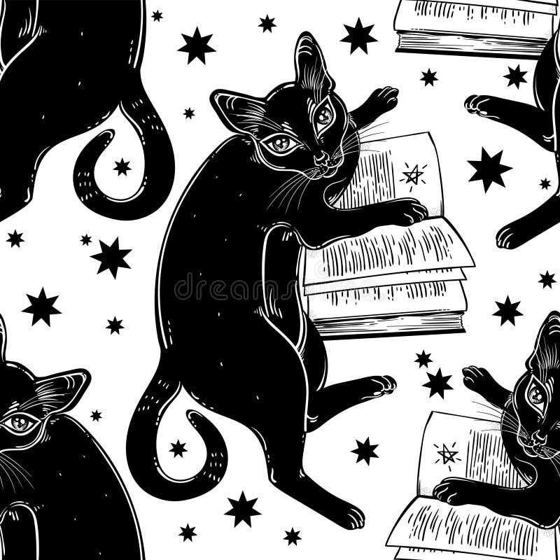 Mądrze czarny kot czyta magicznego książkowego bezszwowego wzór zdjęcie stock