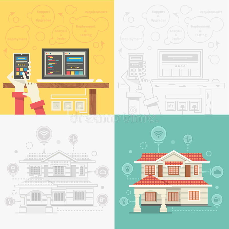Mądrze dom i Kontrolny przyrząd ilustracja wektor