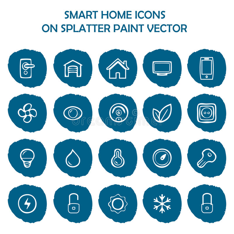 Mądrze domowe ikony na błękitnej splatter farbie Płaskie ikony ilustracji