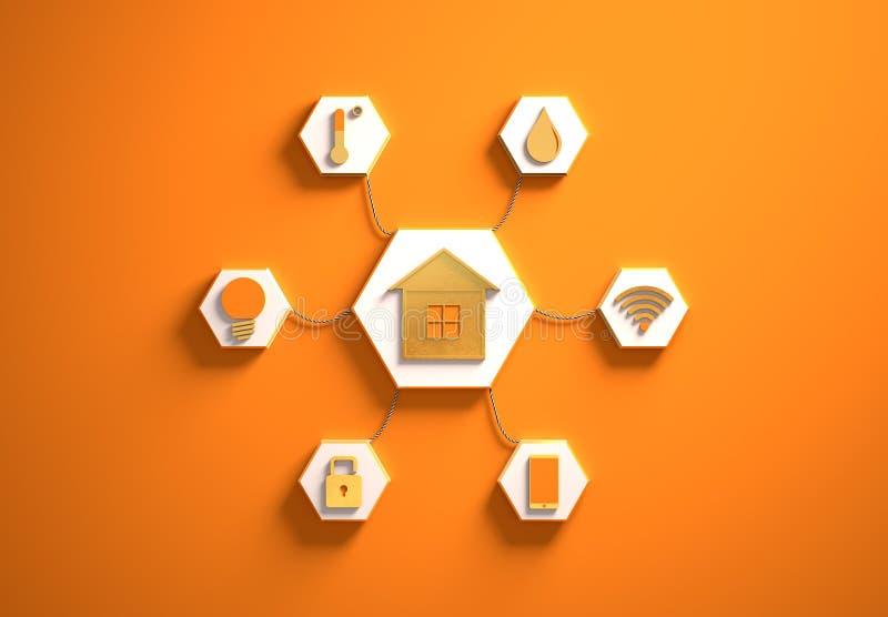 Mądrze domowe ikony umieszczać w promieniowych kształtować szczelinach, pomarańcze royalty ilustracja