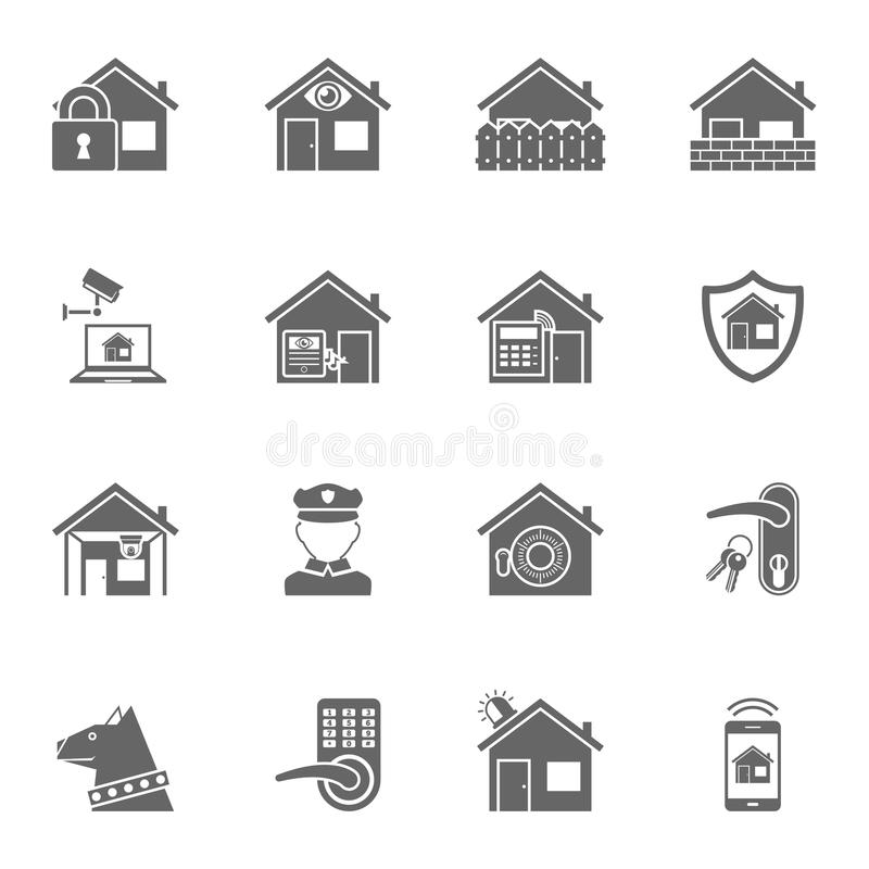 Mądrze domowe systemu bezpieczeństwa czerni ikony ustawiać royalty ilustracja
