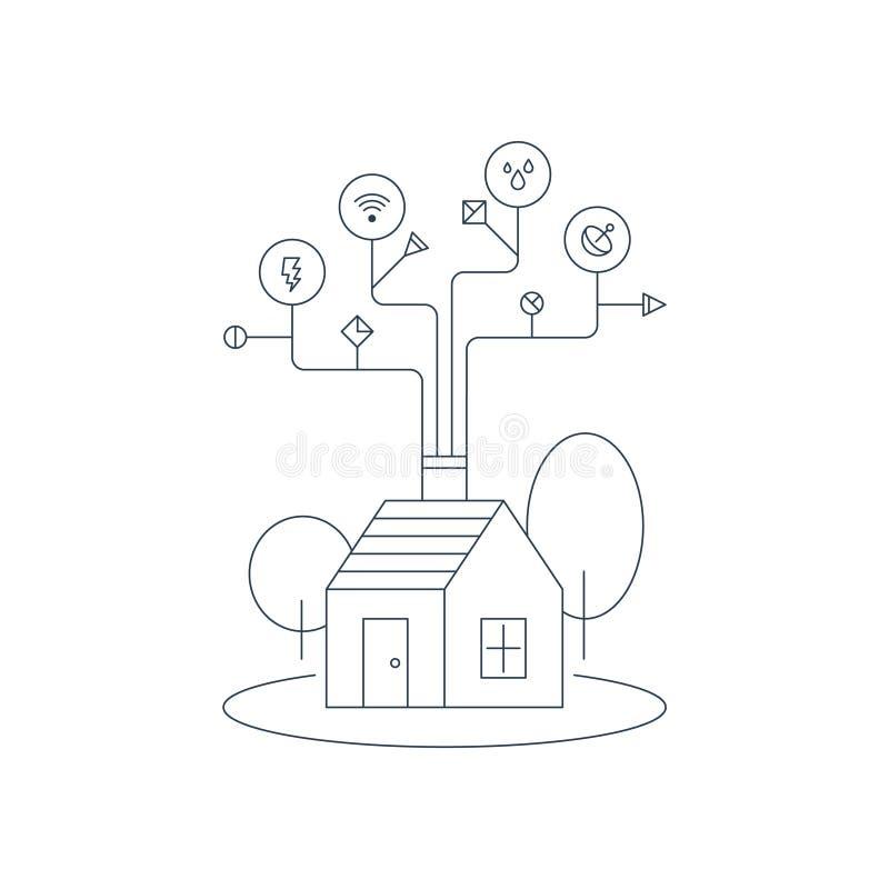 Mądrze domowi systemy, housekeeping pojęcie, gospodarstwo domowe usługa ilustracji