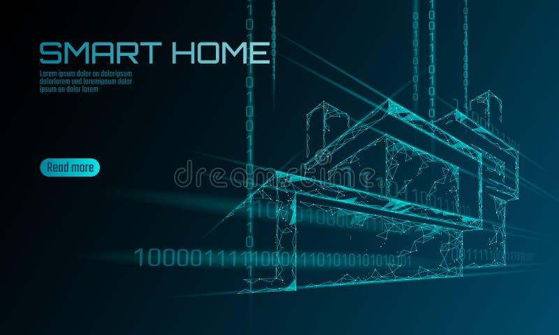 Mądrze domowy binarnego kodu niski poli- pojęcie Online kontrolnej informaci analiza Internet rzeczy technologii dom ilustracji