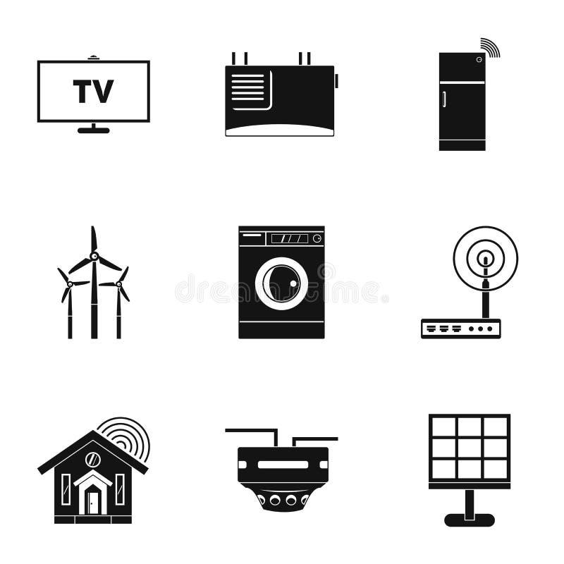 Mądrze domowy przyrząd ikony set, prosty styl ilustracja wektor