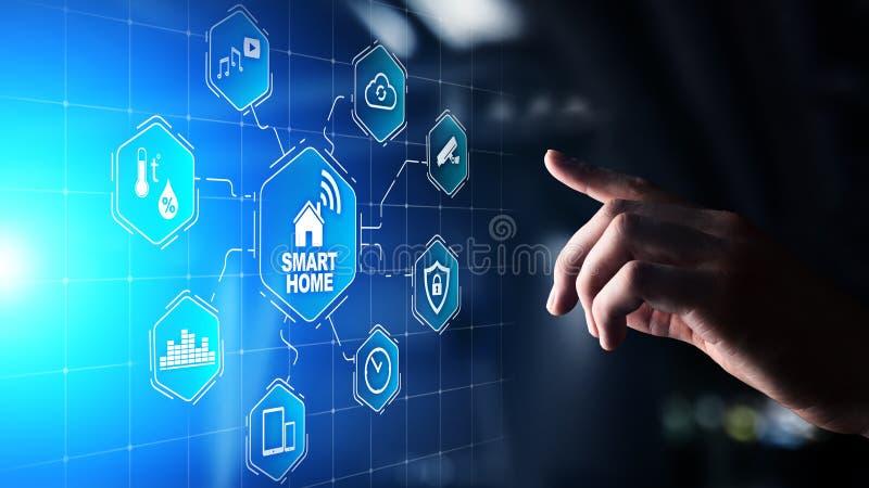 Mądrze domowy pulpit operatora na wirtualnym ekranie IOT i automatyzacji technologii pojęcie obrazy stock