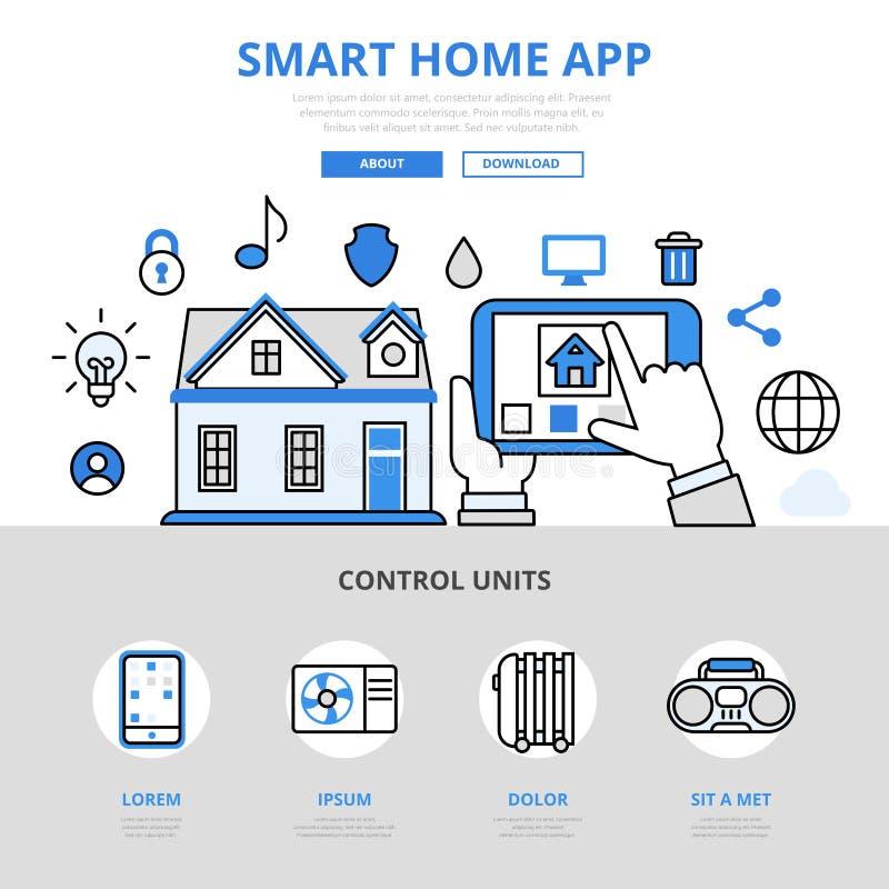 Mądrze domu app mobilnego pojęcia kreskowej sztuki wektoru płaskie ikony ilustracji