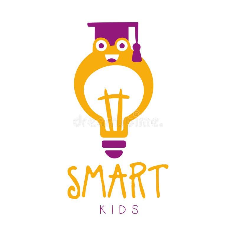 Mądrze dzieciaka loga symbol Kolorowa ręka rysująca etykietka ilustracji
