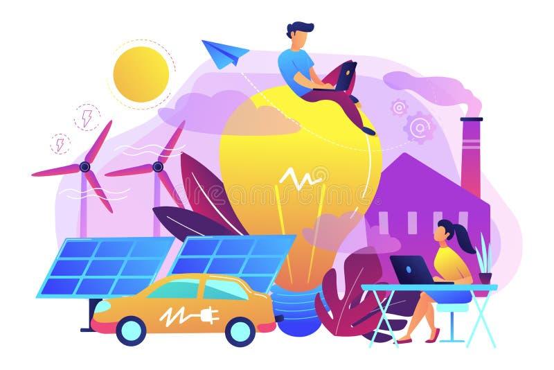 Mądrze energii i systemu zasilania IoT miasta pojęcia wektoru mądrze bolączka ilustracji