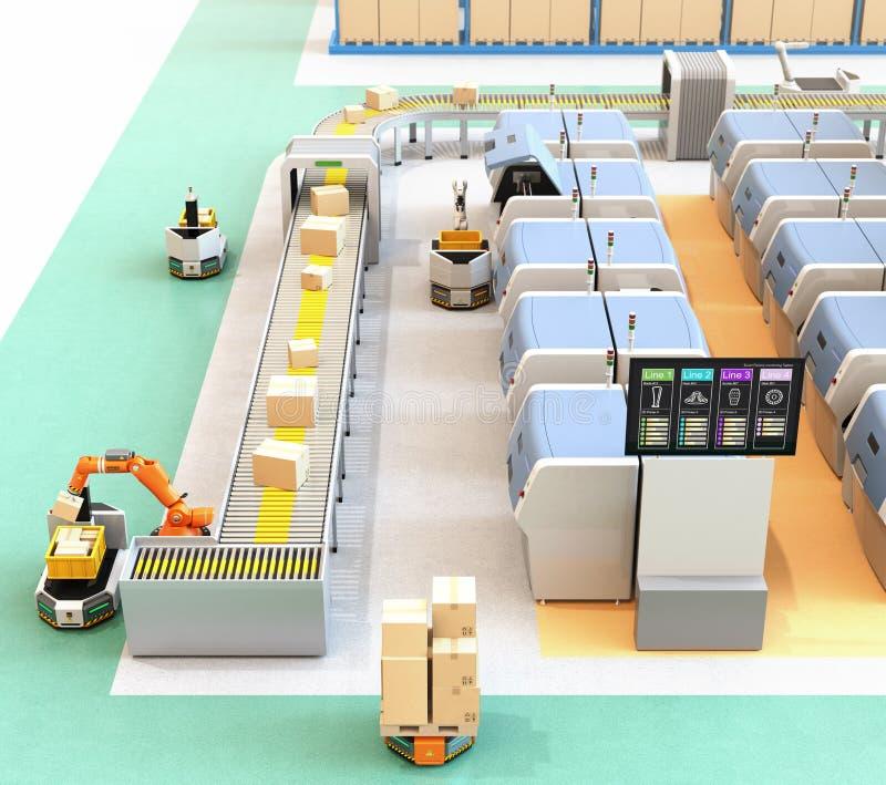 Mądrze fabryka z AGV, robota przewoźnikiem, 3D drukarkami i mechanicznym zrywanie systemem, royalty ilustracja