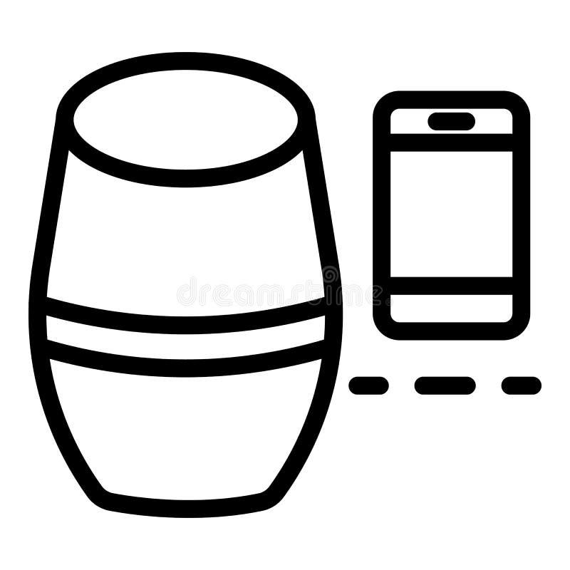 Mądrze głośnikowa smartphone ikona, konturu styl royalty ilustracja