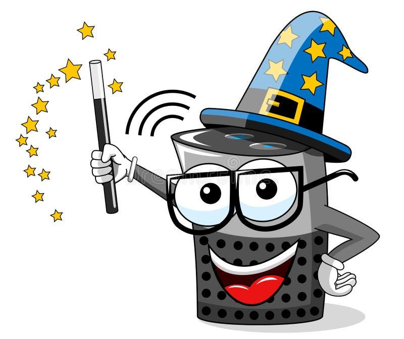 mądrze głośnikowego kreskówka śmiesznego czarownika magiczny kij odizolowywający ilustracja wektor