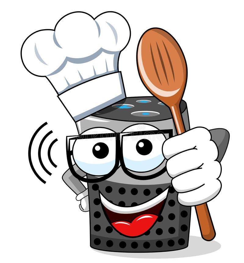 Mądrze głośnikowej kreskówki charakteru śmieszny kucharz odizolowywający ilustracji