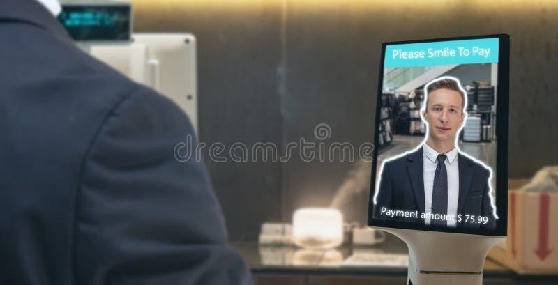 Mądrze handel detaliczny w futurystycznej iot technologii marketingowych pojęciach, klient używa twarzy recognite zastosowanie dl zdjęcia stock