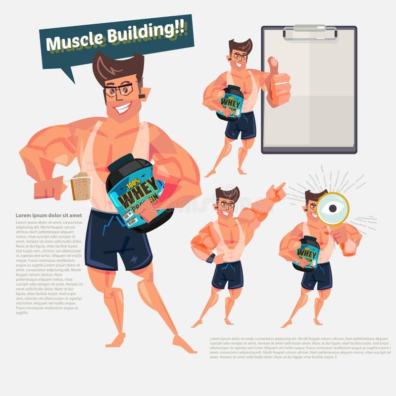 Mądrze i Dysponowany mężczyzna mienia serwatki proteiny zbiornik charakteru desi ilustracja wektor