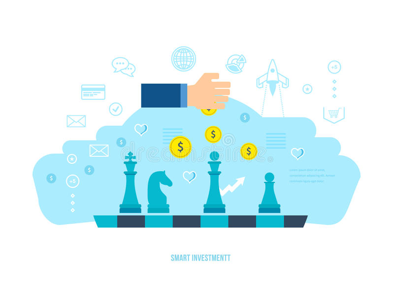 Mądrze inwestycja, finanse, bankowość, targowe dane analityka, strategiczny zarządzanie, planuje royalty ilustracja
