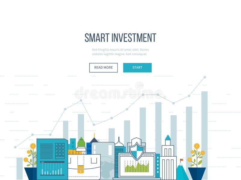 Mądrze inwestycja, finanse, targowe dane analityka, strategiczny zarządzanie, pieniężny planowanie ilustracja wektor