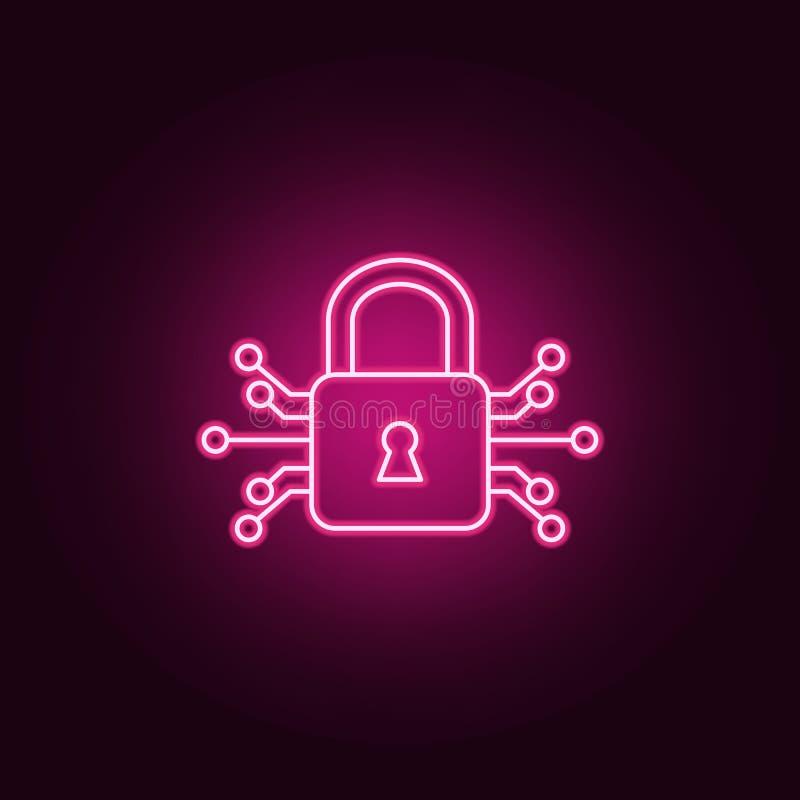 Mądrze kędziorek ikona Elementy sztuczny w neonowych stylowych ikonach Prosta ikona dla stron internetowych, sieć projekt, mobiln ilustracja wektor