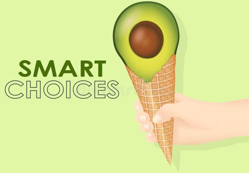 Mądrze karmowi wybory, avocado lody ilustracja zdjęcie stock