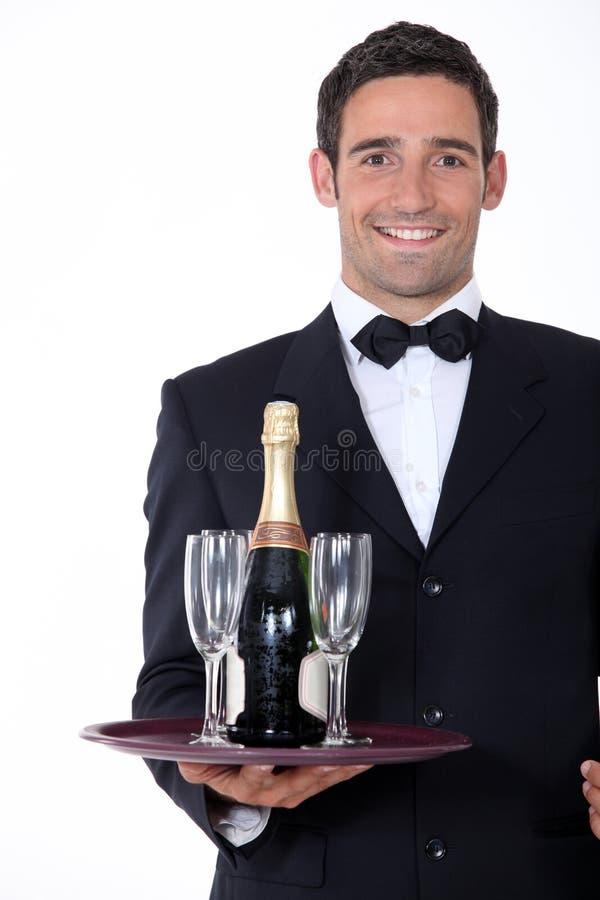 Mądrze kelnera mienia taca zdjęcie stock