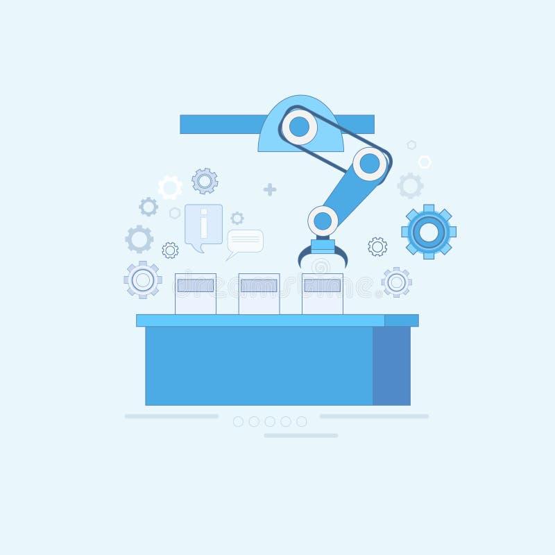 Mądrze konwejer Przemysłowej automatyzaci przemysłu produkci sieci sztandar ilustracji