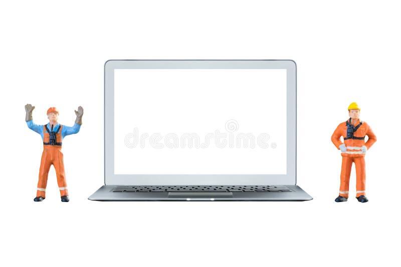Mądrze laptop z białym pustym ekranem miniaturą i obraz stock