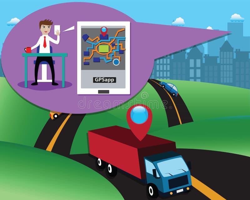 Mądrze logistyki pojęcie, klient sprawdzał automatics ciężarówkę przez gps podaniowych na wiszącej ozdobie - wektor royalty ilustracja