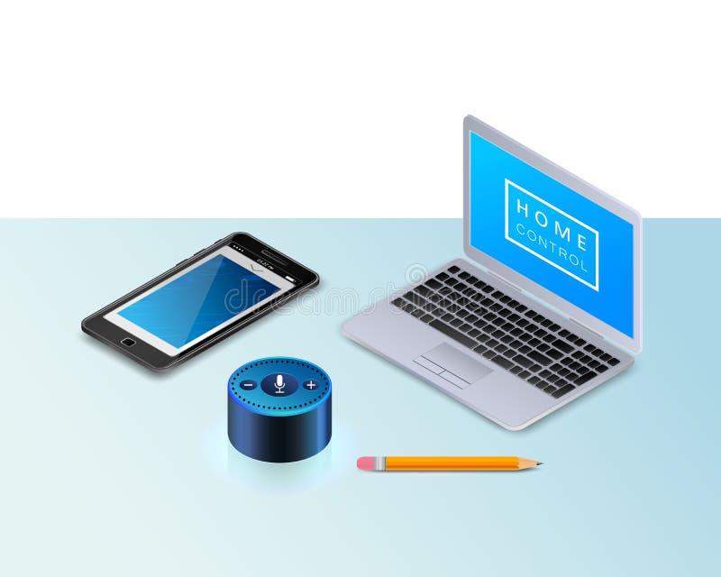 Mądrze mówca dla mądrze dom kontroli Nowożytny laptop, telefon komórkowy, ołówek ilustracja wektor
