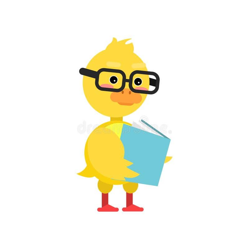 Mądrze mały żółty kaczątko w szkło czytelniczej książki postać z kreskówki wektoru ilustraci royalty ilustracja